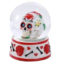 Day of the Dead Sugar Skull Head Water Globe 80mm Home Decor Gift Collectible - $19.79