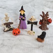 Witch Fairy Garden Kit, Miniature Halloween Village Set, Skeleton black cat owl