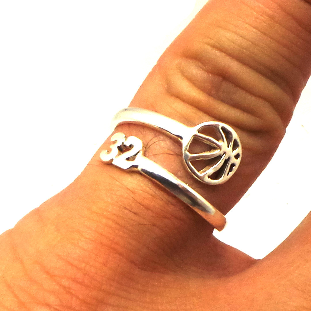 925 Silver Custom Basketball Mom Number Ring