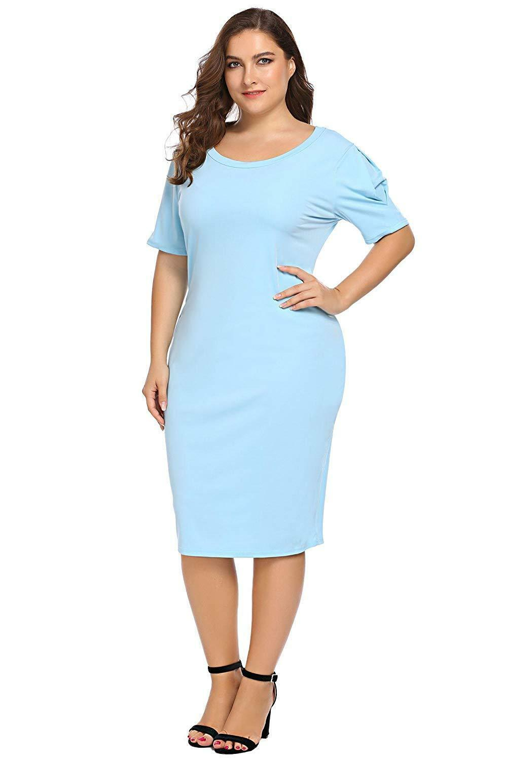 Zeagoo Women Plus Size Loose Fit Short Sleeve O-Neck Casual Midi Dress