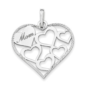 Primary image for Lex & Lu Sterling Silver Polished & Textured 'Mom' Engraved Heart Pendant