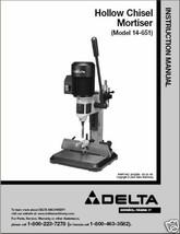 Delta Hollow Chisel Mortiser Instruction Manual 14-651 - $10.88