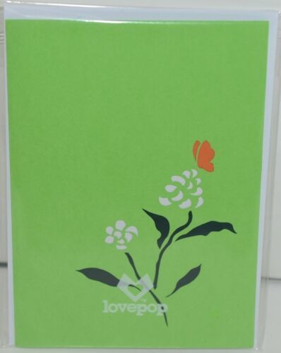 Lovepop LP1583 Butterfly PopUp Card SlideOut Note White Envelope Cellophane Wrap