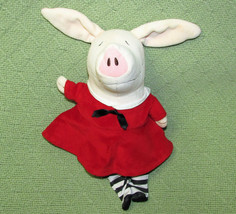 "11"" OLIVIA PIG STUFFED DOLL MERRYMAKERS PLUSH RED DRESS STRIPED STOCKING... - $9.50"