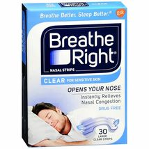 Breathe Right Nasal Strips for Sensitive Skin 30 Large Clear Strips - $8.95