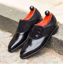Handmade Men Formal Shoes, Men Black Button Shoes, Mens Button Shoes - $159.99