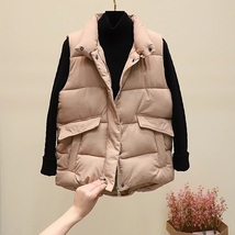 New camel warm padded winter vest with pockets stand collar sleeveless w... - $44.00