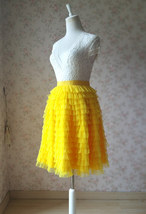 Yellow A-Line Knee Length Tiered Tulle Skirt High Waist Yellow Skirt Outfit T185 image 4