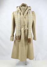 Vtg 70s Retro Beige Tan Plaid Scarf Wool Hooded Trench Duffle Coat Jacke... - $49.49