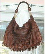 B. Makowsky Pebbled Genuine Leather Fringe Hobo  bag Handbag - $123.75
