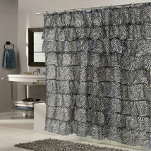 "Elegant Zebra Pattern Crushed Voile Ruffled Tier Shower Curtain 70"" x 72"" - $26.49"