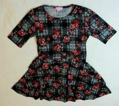 Dream Girls Dress Size L 14 16 Black Plaid Rose Knit Skater Dress Casual... - $17.59