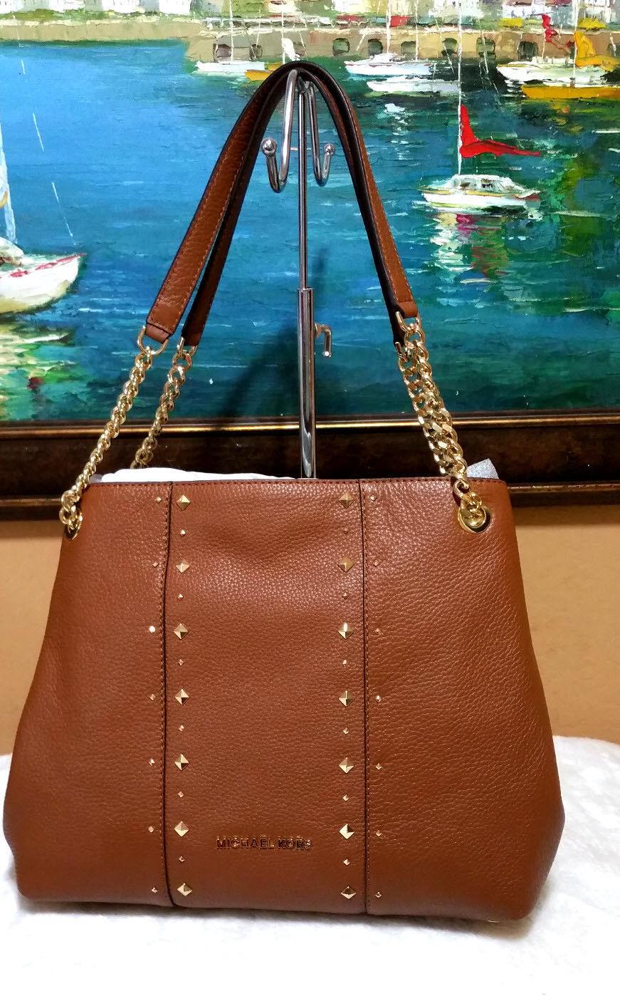 c56c7e7d9340 MICHAEL KORS jet set chain SHOULDER BAG leather purse stud Raven Brown NWT