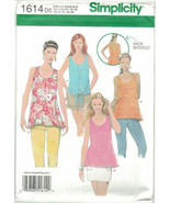 Simplicity 1614 Tank Top Pattern Hi Lo Hem, Tie Front Options Size 4 6 8... - $8.81