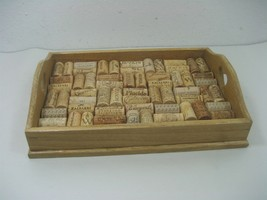 Vintage Wooden Display Tray Heart Cutout Handles With Cork Collection Made Base - $23.33