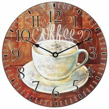 "Wall Clock 12"" Paris Cafe Coffee Cup Vintage Style Shabby Chic Farmhouse - $29.00"