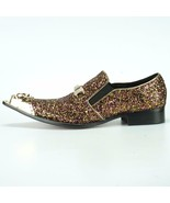 Men's Fiesso Silver Pink Glitter Pointed Gold Metal Tip Shoes FI 7072 - $129.99