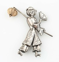 Sterling Silver Dangle Brooch of an Asian Woman with Lantern by Lang - $137.16