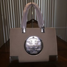 NWT Tory Burch ELLA METALLIC CANVAS TOTE Natural / Silver - $195.99