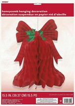 Red Christmas Bell Honeycomb Hanging Decoration 15.5 inch - $5.44
