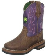JOHN DEERE JD3328 YOUTH SIZE 5 M TAN/PURPLE PULL-ON BOOT - $74.99
