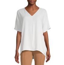 Worthington V Neck Woven Popover Blouse Size XL New White  - $19.99