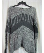 Express Gray Long Sleeve V-Neck Striped Wool Sweater Sz X-Small EUC - $28.49
