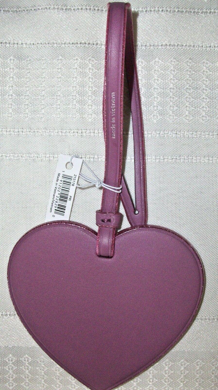 Coach Boxed Leather Heart Charm Ornament Glitter Edges 21517 NWT Primrose image 3