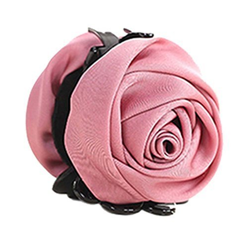 A Beautiful Rose Flower Hair Clips Headwear Ponytail Clip, Dark Pink