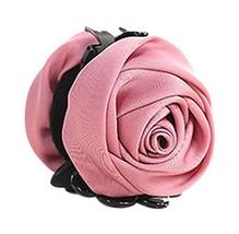 A Beautiful Rose Flower Hair Clips Headwear Ponytail Clip, Dark Pink