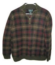 Ralph Lauren 1/2 Zip Green Plaid Tartan Pullover Sweater Long Sleeve Wom... - $14.84