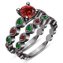 Round Cut Multi Color CZ Black Gold Finish 925 Silver Bridal Engagement Ring Set - $121.58