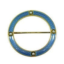 Victorian 14k Yellow Gold and Blue Enamel Circle Pin (#J1652) - $450.00