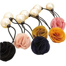 [Set of 5] Elegant Flowers No-damage Elastics Ponytail Holders, Random Colour