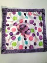 CARTER'S Baby Girl Purple Polka Dot BUTTERFLY Security Blanket Lovey Pin... - $16.81