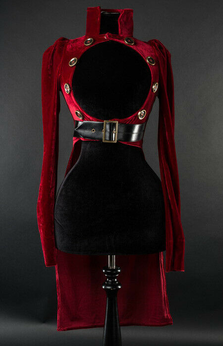 Primary image for Red Velvet Openbust Gothic Victorian Steampunk Officer Crop Jacket Tailcoat