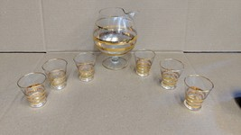 West Virginia Glass Gold trimmed pitcher and 6 glasses - $64.35