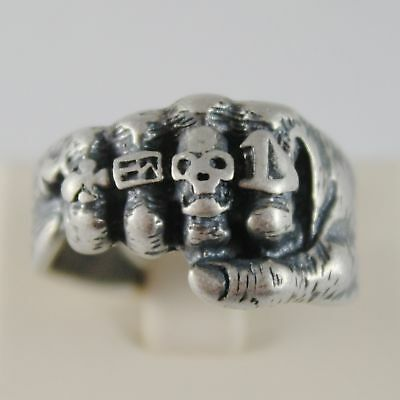 925 SILVER RING BURNISHED SHAPED HAND FIST WITH SIZE ADJUSTABLE