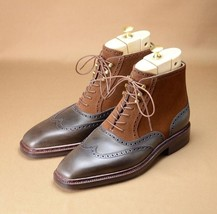 New Handmade Men's Suede and Leather Wing Tip High Ankle Lac e Up Stylish Boots image 4
