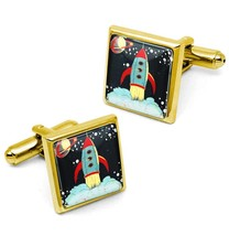 Retro Rocket Ship Vintage Sci-fi Outer Space Gold Cufflink Set w/ Box - $32.39