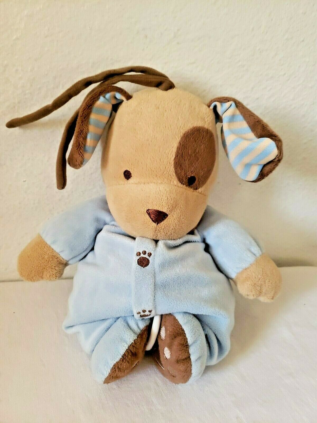 Primary image for Carters Blue Brown Puppy Dog Musical Plush Stuffed Animal Rock a Bye Baby Tan