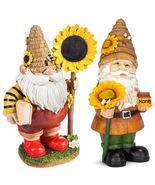 Couple Gnome hold sunflower for yard, Dwarf Miniature, Garden supplies, Figurine - $23.80