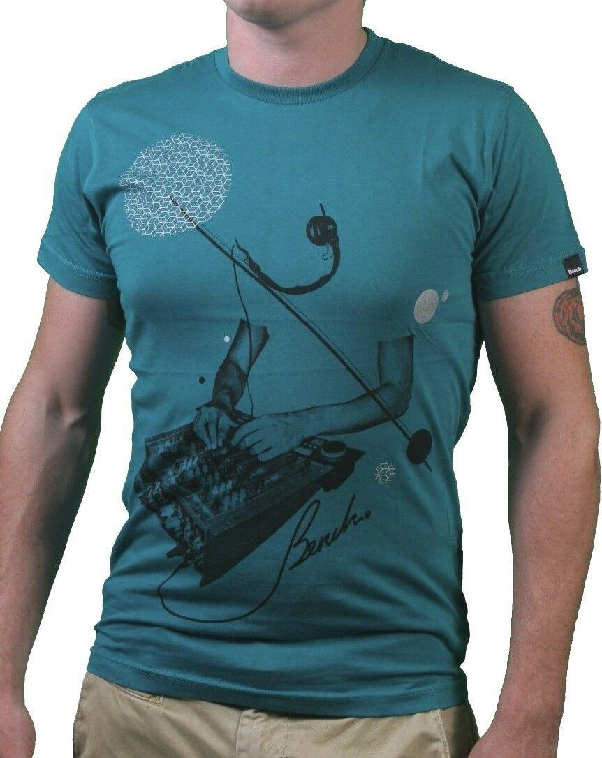 Bench Mens Sea Green Leader Live Concert Studio Soundboard Mixer T-Shirt NWT