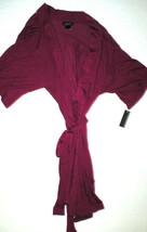 NWT New Designer Natori Short Wrap Robe Womens XS Soft Sexy Belt Dark Fu... - $160.00