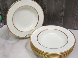 "6 Antique Spode Copelands England Double Gold Band Rimmed Soup Bowls 9 1/8"" - $158.40"