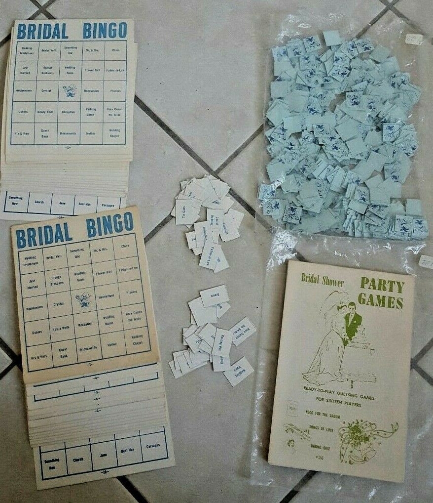 Brand New! Vintage 1962 60's Bride Wedding Shower Bingo & Game Guess ~ 30 Guests