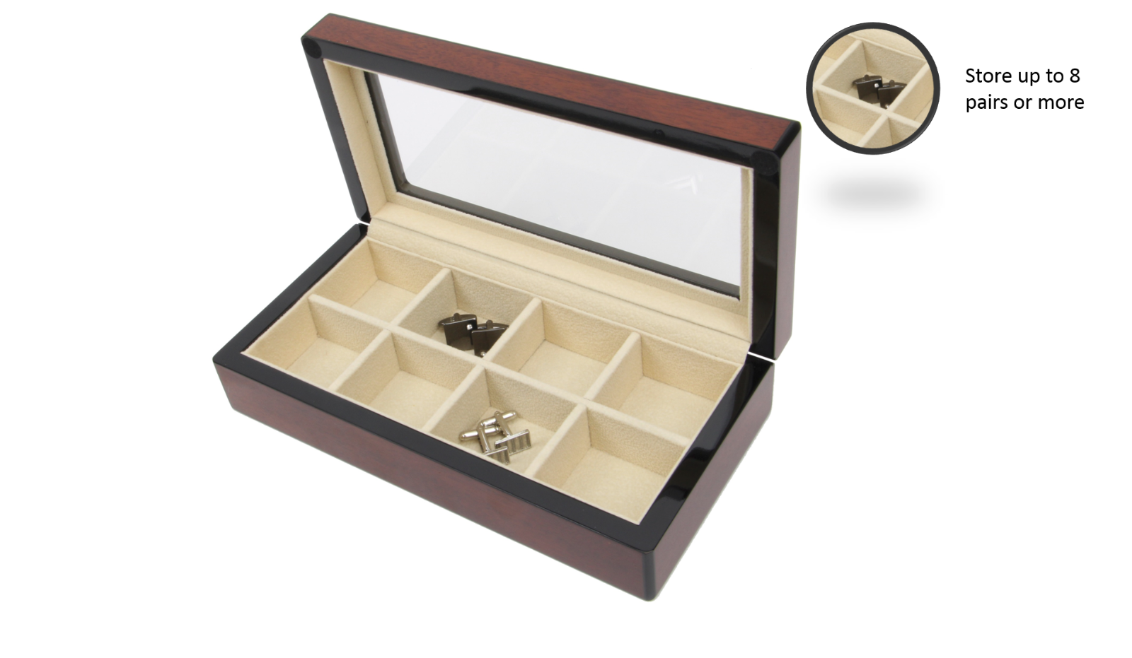 DECOREBAYWOOD CUFFLINK & RING STORAGE  CASE CUFF LINKS MENS JEWELRY BOX AUSTIN