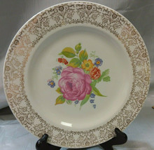 Vintage Royal China Warranted 22K Gold Dinner Plate with Floral Motif - USA - $9.99