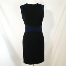 Diane Von Furstenberg Shift Dress 8 Black Navy Viscose Spandex - $74.75