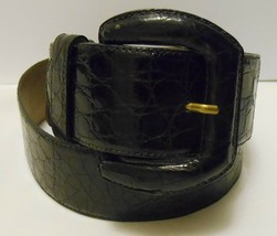 """DE VECCHI Vtg Women's Crocodile Leather Belt Black wide sz Large 28-32"""" ... - $39.95"""